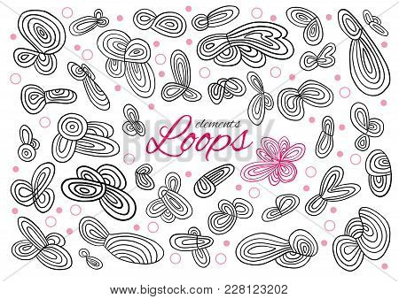 Abstract Infinity, Endless Loops In Doodle Hand Made Technique. Separate Elements On White Backgroun