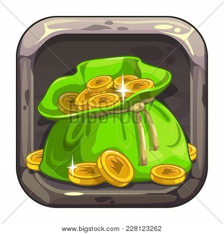 App Icon With Big Bag Of Coins. Cartoon Asset For Game Or Web Design.