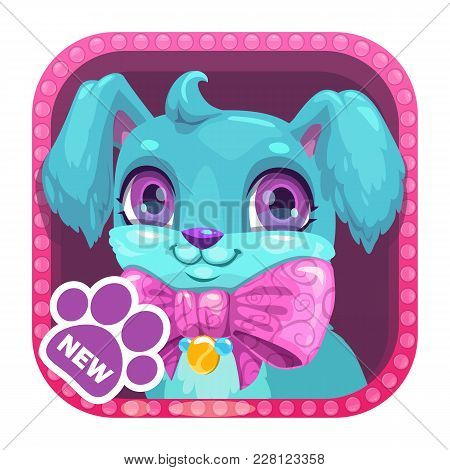 App Icon With Cute Cartoon Little Blue Dog. Vector Asset For Game Or Web Design.