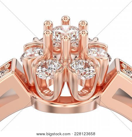 3d Illustration Isolated Close Up Rose Gold Decorative Flower Diamond Ring On A White Background
