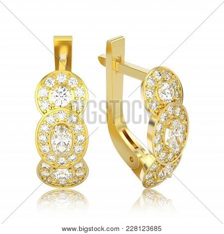 3d Illustration Isolated Yellow Gold Three Stone Solitaire Diamond Earrings With Hinged Lock With Re