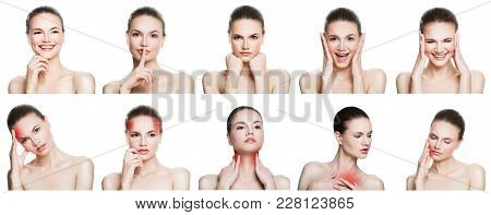 Set Of Female Disease And Health. Collage Of Young Woman Expressing Different Emotions, Gesturing, N