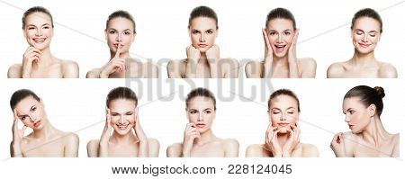 Collage Of Negative And Positive Female Face Expressions. Set Of Young Woman Expressing Different Em