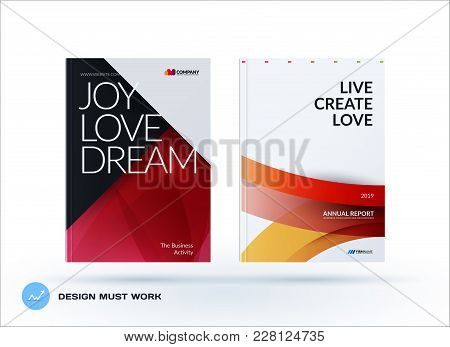 Material Design Of Business Brochure Set, Abstract Horizontal Cover Layout, Flyer In A4 With Vector