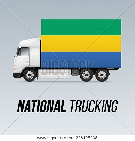 Symbol Of National Delivery Truck With Flag Of Gabon. National Trucking Icon And Gabonese Flag