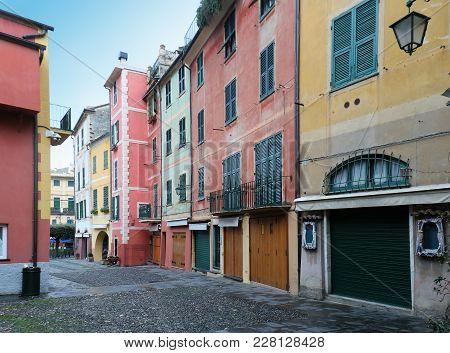 Colorful Houses In Small Tourist City Portofino In Italy
