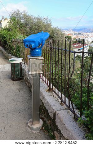 Viewing Binoculars On Popular Tourist Spot For Admiring Local Attractions And Architecture