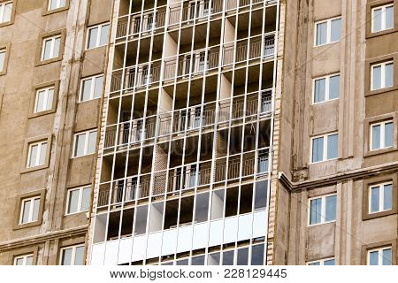 Windows In A Multi-storey Building Under Construction As A Background .