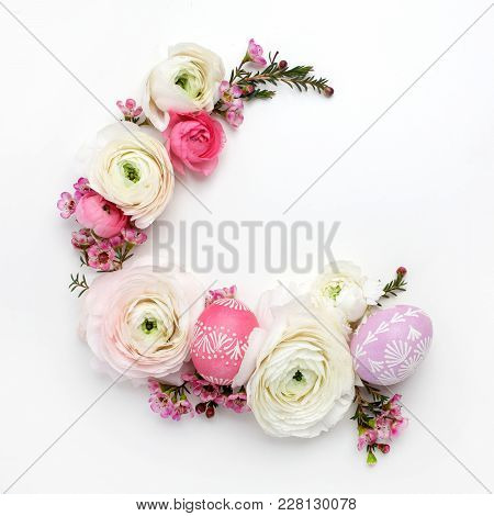 Circle Border For Easter Card Or Invitation. Wreath With Easter Chicken Eggs And Ranunculus Flowers.