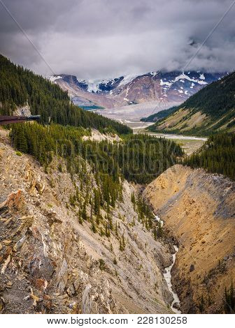 Glacier Skywalk Above The Glacier Valley Along The Icefields Parkway In Jasper National Park, Canada