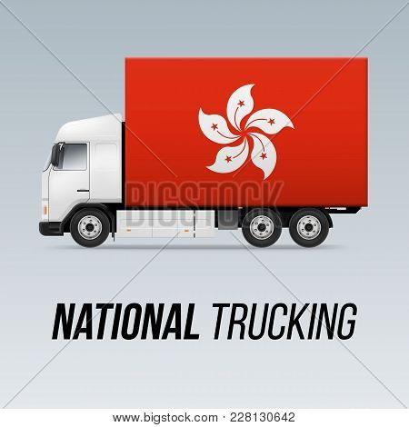 Symbol Of National Delivery Truck With Flag Of Hong Kong. National Trucking Icon And Flag Design