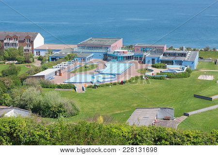 Helgoland, Germany - May 20, 2017: Aerial View Swimming Pool At German Island Helgoland In Northsea