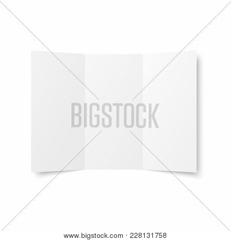 Vector blank white trifold leaflet opened on white background. top view. Zigzag folded paper sheet in A4. Mock up of empty cover, leaflet, brochure, pamphlet, flyer isolated. 3D illustration poster
