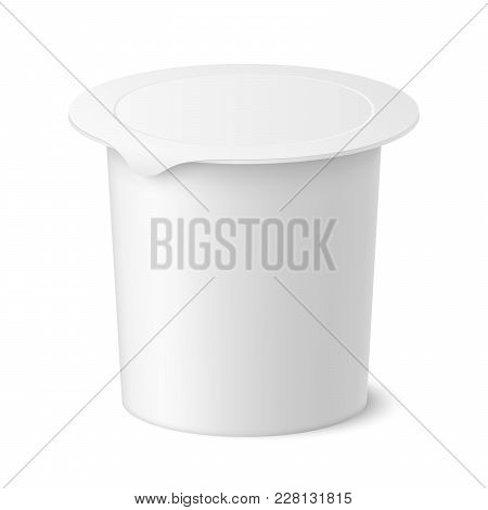 Vector Realistic Yogurt, Ice Cream Or Sour Creme Package On White Backgrounnd. 3d Illustration. Mock