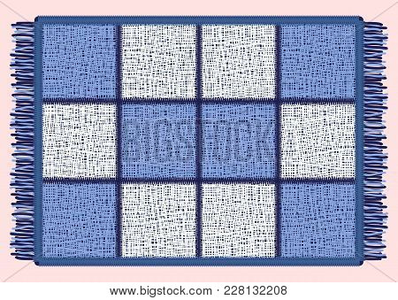Blue Mat With Fringe. Rectangular Rug In The Cell. Vector Illustration.