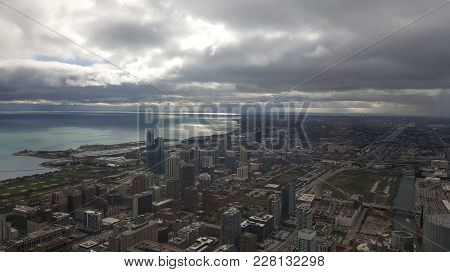 Aerial Elevated View From Above Chicago Downtown Loop Business District Looking Southwest Towards Mu