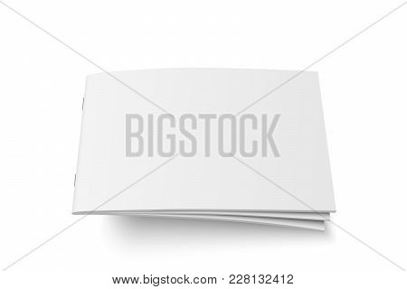 Vector Mock Up Of Book Or Magazine White Blank Cover Isolated. Flying Closed Horizontal Magazine, Br