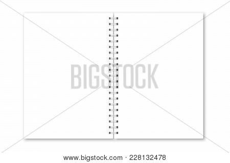 Vector Realistic Opened Notebook Cover. Vertical White Metallic Silver Spiral Bound Blank Copybook.