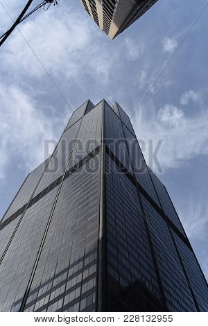 Willis Tower (formerly Sears Tower) Chicago, Il, October 26th, 2017, As See From A Corner Angle, Loo