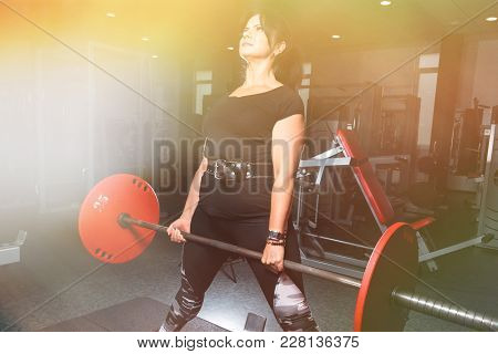 Woman Plus Size In Gym Doing Exercises With Barbell Powerlift, Female Xxl Losing Weight, Fat Model W