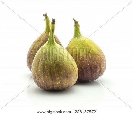Three Fresh Figs Isolated On White Background Ripe Purple Green