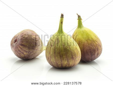 Three Figs Isolated On White Background Fresh Ripe Purple Green
