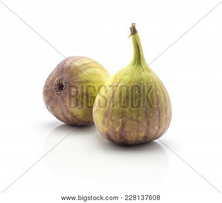 Two Fresh Figs Isolated On White Background Ripe Purple Green