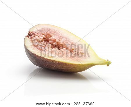 One Fig Sliced Half With Rose Flesh Isolated On White Background Ripe Fresh Purple Green