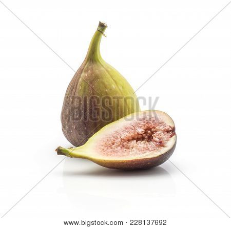 One Fig And A Half With Rose Flesh Isolated On White Background Ripe Fresh Purple Green