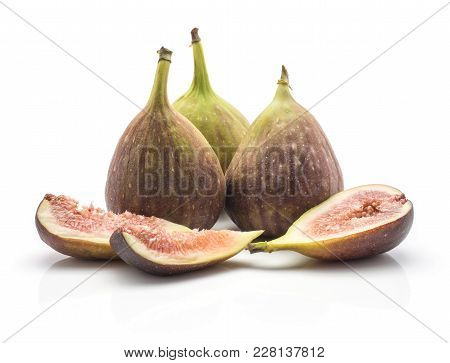 Three Figs One Half Two Slices Isolated On White Background Ripe Fresh Purple Green And Rose Flesh