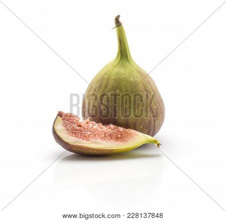 One Fig And One Slice Isolated On White Background Ripe Fresh Purple Green And Rose Flesh