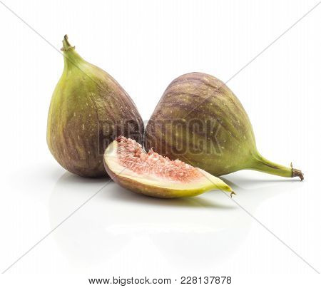 Two Green Purple Figs One Slice Isolated On White Background Ripe Fresh Rose Flesh