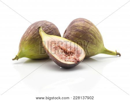Two Green Purple Figs One Half Isolated On White Background Ripe Fresh Rose Flesh