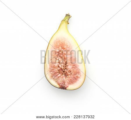 One Fig Sliced Half With Rose Flesh Isolated On White Background Top View Ripe Fresh Purple Green