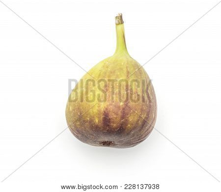 One Fresh Fig Top View Isolated On White Background Ripe Purple Green