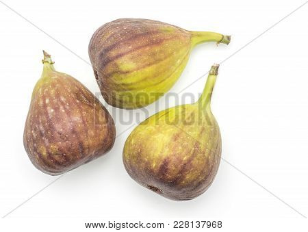 Three Figs Top View Isolated On White Background Fresh Ripe Purple Green