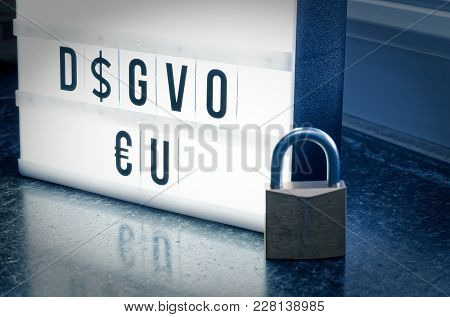 Plate With The Inscription Dsgvo Eu (general Data Protection Regulation) In English Gdpr (general Da