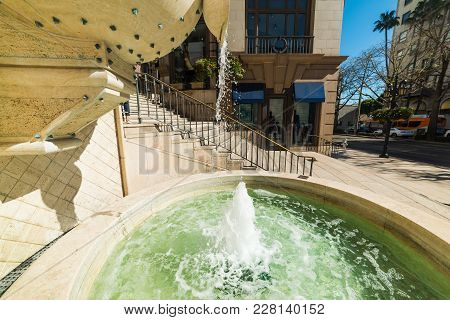 Fountain In Beverly Hills, Los Angeles County. California, Usa