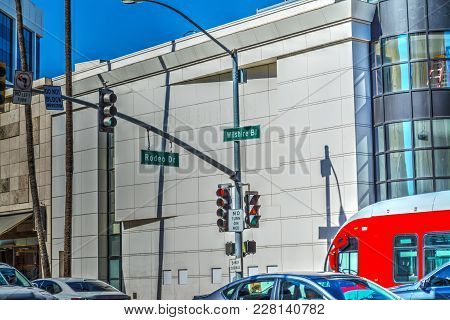 Rodeo Drive And Whilshire Boulevard Crossroad In Beverly Hills, California