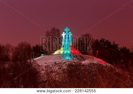 Mount Three Crosses In A Multicolored Festive Illumination. Vilnius. Latvia.