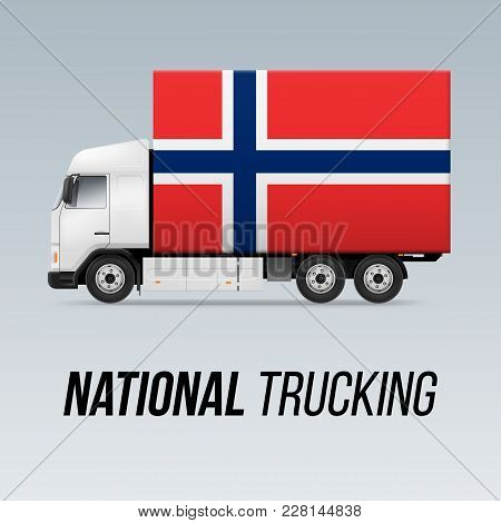 Symbol Of National Delivery Truck With Flag Of Norway. National Trucking Icon And Norwegian Flag