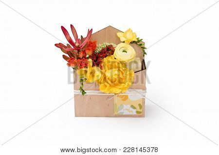 Giftbox With Flowers And Greeting Card. Colorful Spring Bouquet In Wooden Box On White Background