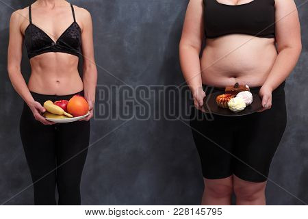 Diet, Healthcare, Weight Loosing, Fitness, Well-being Concept. Overweight Lady With A Plate Of Sweet