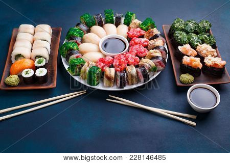 Delicious Sushi Set With Wide Assortment Of Fillings, Served With Soy Sauce And Chopsticks, Free Spa