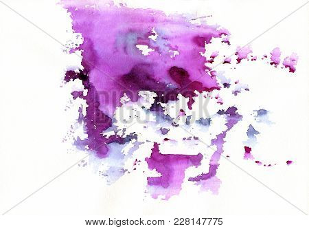 Purple Abstract Watercolor Stains With Spatters And Splashes. Creative Colorful Watercolor Backgroun
