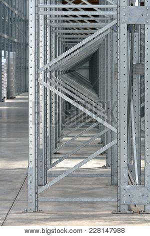 Steel Shelving System In New Distribution Warehouse