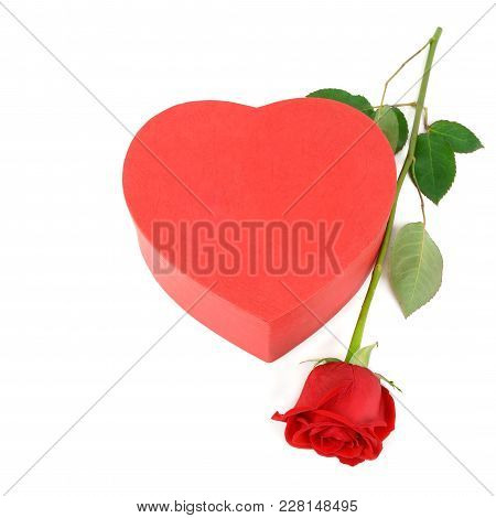 Gift Box In The Form Of Heart And Scarlet Rose Isolated On White Background. Free Space For Text. Fl