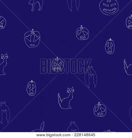 Halloween Seamless Pattern Design With Ghost, Skull, Pumpkin And Black Cat. Halloween Seamless Patte