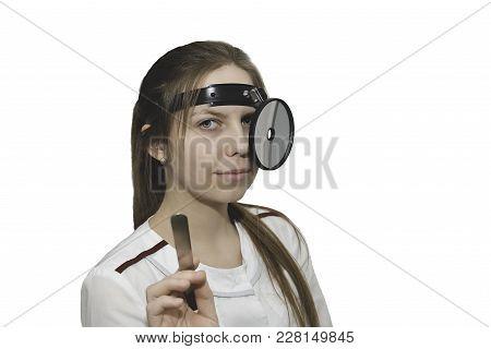Female Medicine Doctor Examining Patient.  Otorhinolaryngologist Or Ent Examination Isolated On Whit