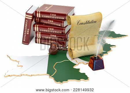 Constitution Of Pakistan Concept, 3d Rendering Isolated On White Background